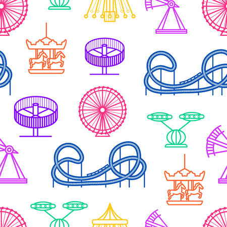 Cartoon Silhouette Amusement Park Seamless Pattern Background. Vector
