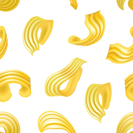 Realistic Detailed 3d Different Types Butter Curls Seamless Pattern Background. Vector