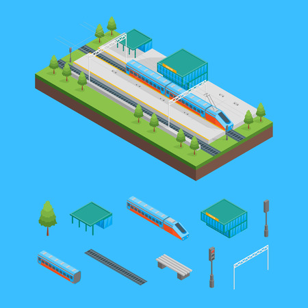 Railway Passenger Train Station and Elements Isometric View. Vector