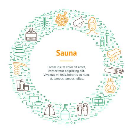 Sauna Thin Line Banner Card Circle . Vector Illustration