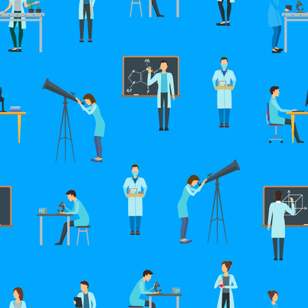 Cartoon Biologists, Chemists and Physicists Seamless Pattern Background. Vector
