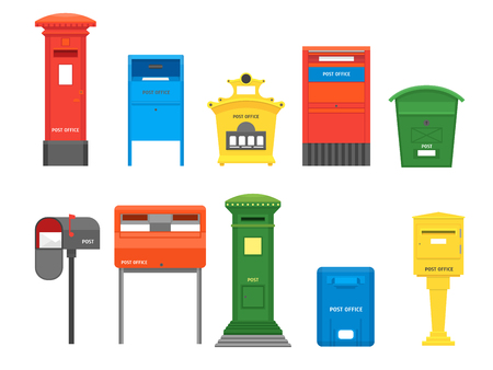 Cartoon Color Mail Box Set. Vector Иллюстрация