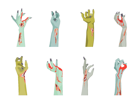 Cartoon Zombie Hand Icons Set. Vector  イラスト・ベクター素材