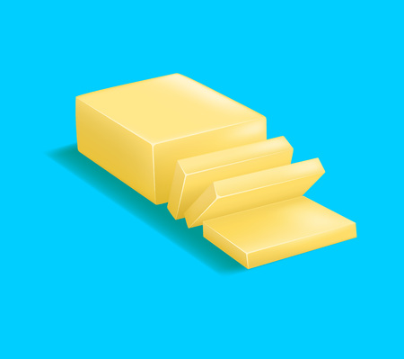 Realistic Detailed 3d Butter. Vector Vectores
