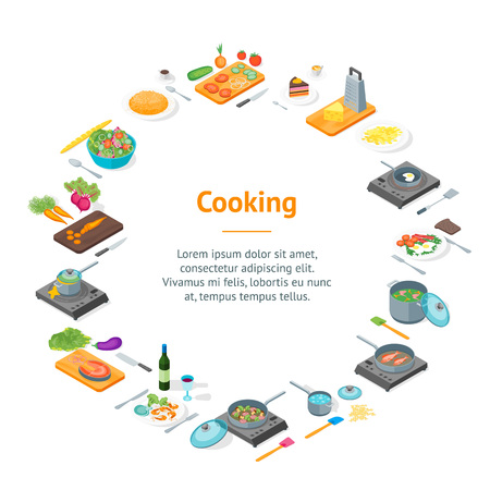 Cooking or Preparation Food Banner Card Circle Isometric View. Vector Ilustrace