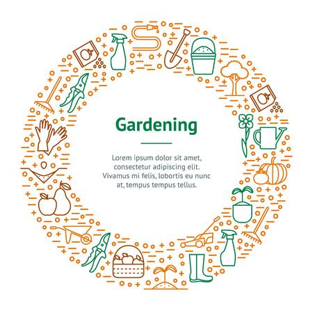 Flower and Gardening Banner Card Circle. Vector Stock Illustratie