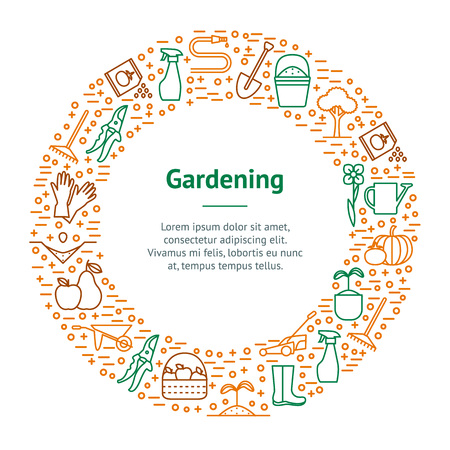 Flower and Gardening Banner Card Circle. Vector Illustration