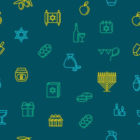 Hanukkah Seamless Pattern Background. Vector