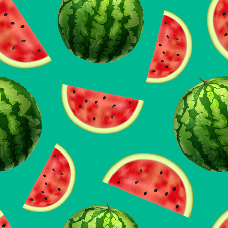 Realistic Detailed 3d Whole Watermelon and Slices Seamless Pattern Background. Vector