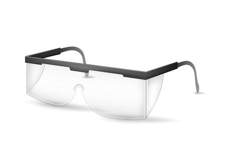 Realistische gedetailleerde 3D-plastic veiligheidsbril Transparant glazen beschermingsmiddelen voor de bouw van de werkindustrie. Vectorillustratie van accessoire