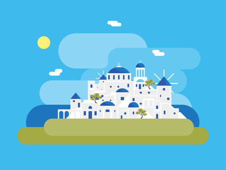Pueblo de la isla de Santorini de dibujos animados. Vector