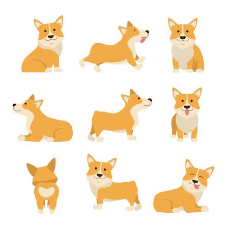 Cartoon Characters Welsh Corgi Set Domestic Pets Concept Element Flat Design Style. Vector illustration