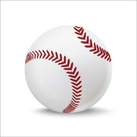 Realistic Detailed 3d Baseball Leather Ball Closeup View Element for Sport Game on a White. Vector illustration of American Softball Ilustração