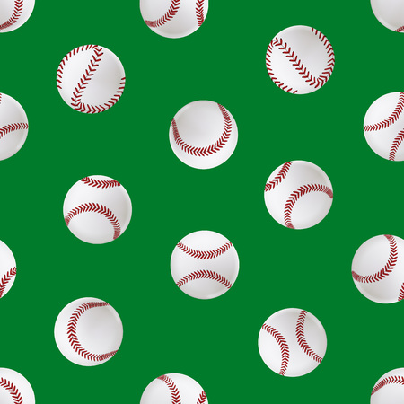 Realistic Detailed 3d Baseball Leather Ball Seamless Pattern Background Closeup View Element for Sport Game. Vector illustration of American Softball Ilustração