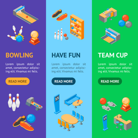 Bowling Game Banner Vecrtical Set Isometric View Include of Ball, Strike, Skittle and Shoe. Vector illustration