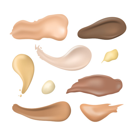 Realistic Detailed 3d Cosmetic Concealer Strokes Set. Vector