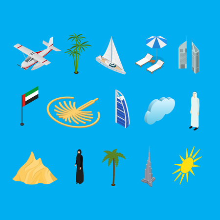 Dubai UAE Travel and Tourism Icons 3d Isometric View. Vector
