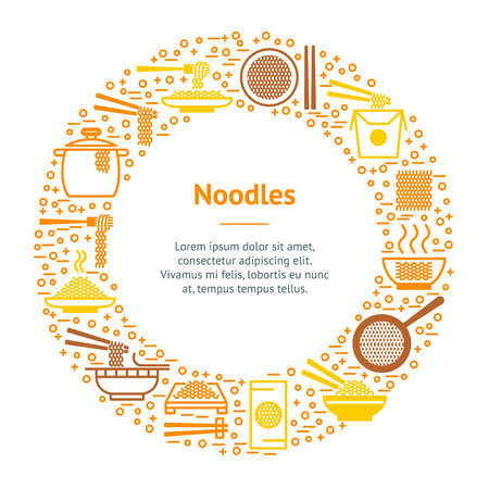 Noodle Thin Line Banner Card Circle Chinese or Japanese Traditional Fast Food and Chopstick, Box. Vector illustration Vectores