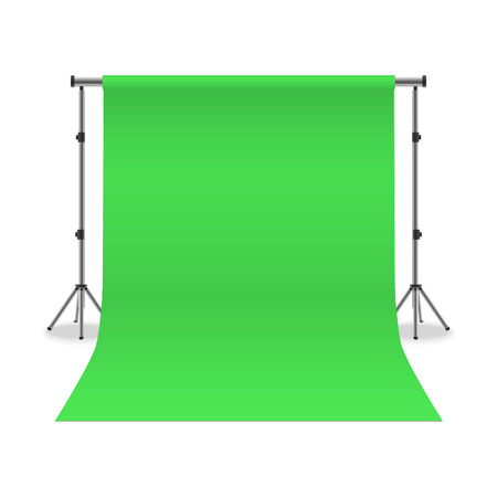 Realistic Detailed 3d Photo Studio Stand with Empty Template Green Paper Background. Vector illustration of Professional Equipment and Interior