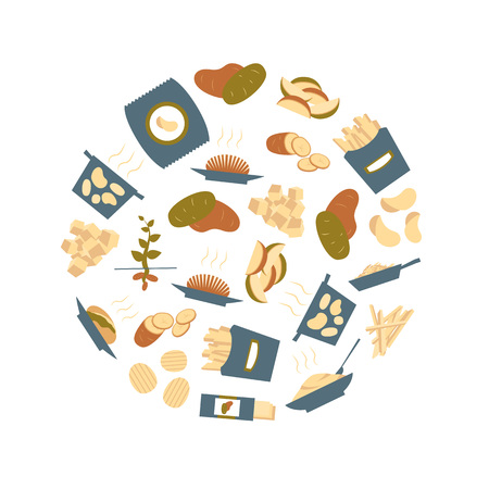 Cartoon Color Potato Round Design Template Cooking or Ingredient Food Concept Flat Design Style. Vector illustration of Potatoes Icons