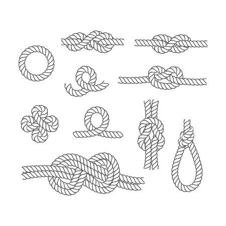 Rope Knots Borders Thin Line Icon Set Web Design Element Different Types Noose. Vector illustration of Knot Border