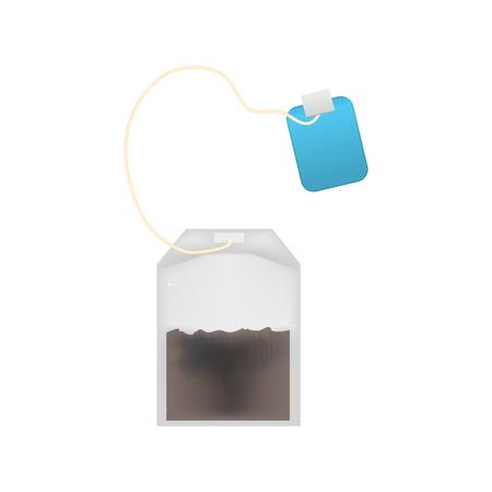 Realistic Detailed 3d Tea Bag Set and Blue Tag Element for Hot Drink. Vector illustration of Teabag