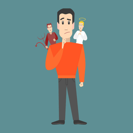 Cartoon Character Man with Angel and Devil on Shoulders Choice or Decision Concept Element Flat Design Style. Vector illustration