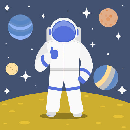 Cartoon Character Cosmonaut on Planet Surface Spaceman and Cosmic Travel Concept Element Flat Design Style. Vector illustration of Astronaut Vectores