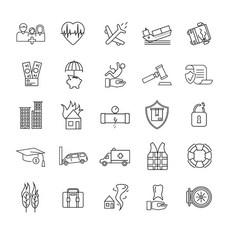 Insurance Elements Black Thin Line Icon Set Include of Car, Family, Health and Real Estate. Vector illustration of Icons Illustration
