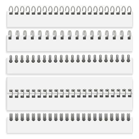Set di spirali cablate in ferro 3d dettagliate realistiche per pagine di carta organizer, diario, documento e blocco note. Illustrazione vettoriale di spirale
