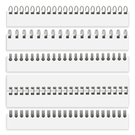 Realistic Detailed 3d Iron Wired Spirals Set for Organizer, Diary, Document and Notepad Paper Pages. Vector illustration of Spiral Illustration