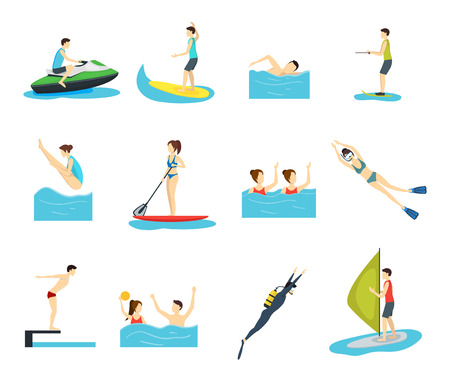 Cartoon Water Sport and Characters People Set Activity Concept Element Flat Design Style. Vector illustration of Man and Woman Ilustración de vector