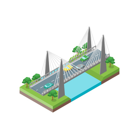Bridge Road Isometric View Element of Map Plan for Web and App. Vector illustration 矢量图像