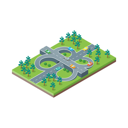 Road Crossroads Isometric View Element of Map Plan for Design. Vector illustration