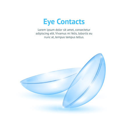 Realistic Detailed 3d Contact Lenses Concept Card Medical Lens Product for Eyesght Concept for Ad or Marketing. Vector illustration Illustration
