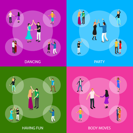 Isometric Dancing People Characters Banner Set Solo or Pairs on Music Party, Disco. Vector illustration of Dancers Persons
