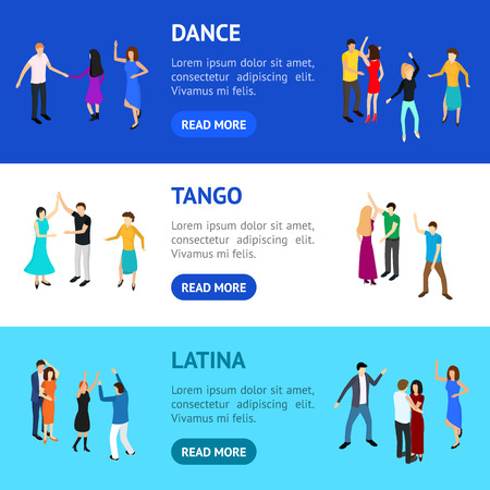 Isometric Dancing People Banner Horizontal Set Solo or Pairs on Music Party, Disco. Vector illustration of Dancers Persons