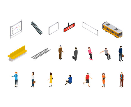 Subway Station Icons Isometric View. Vector Ilustrace