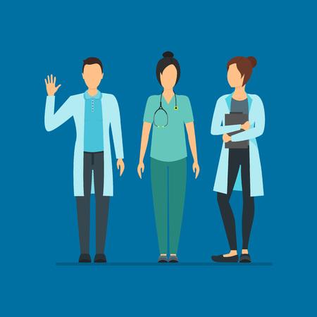 Cartoon Doctors Characters People Medicine Concept Element Flat Design Style. Vector illustration of Staff