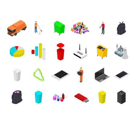 Garbage Recycling Concept 3d Isometric View Waste Sorting. Vector illustration Vektorgrafik