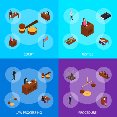 Court Session Law and Justice Concept Banner Set 3d Isometric View Include of Judge, Lawyer, Jury, Defendant and Witness. Vector illustration