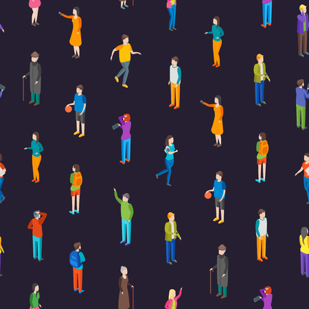 People Characters Seamless Pattern Background Isometric View Different Types Social Man and Woman for Report, Research. Vector illustration