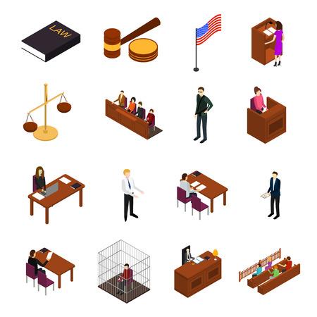 La vista isométrica 3d de los iconos del concepto de la ley y la justicia de la sesión judicial incluye el juez, el abogado, el jurado, el acusado y el testigo. Ilustración vectorial