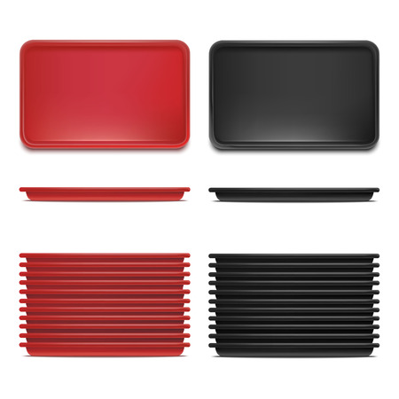 Realistic Detailed 3d Plastic Tray Set Rectangular Tools for Restaurant Services. Vector illustration of Red and Black Trays