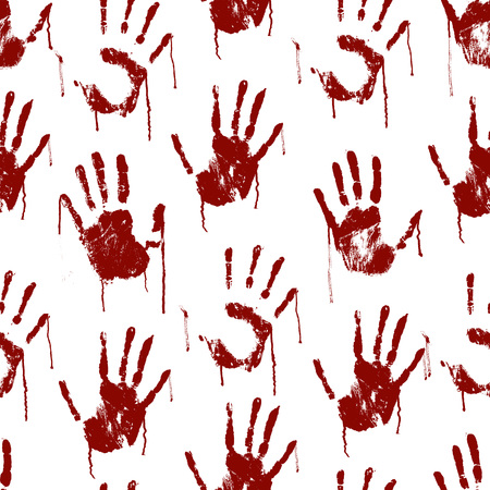 Red Bloody Scary Hands Imprint Seamless Pattern Background.