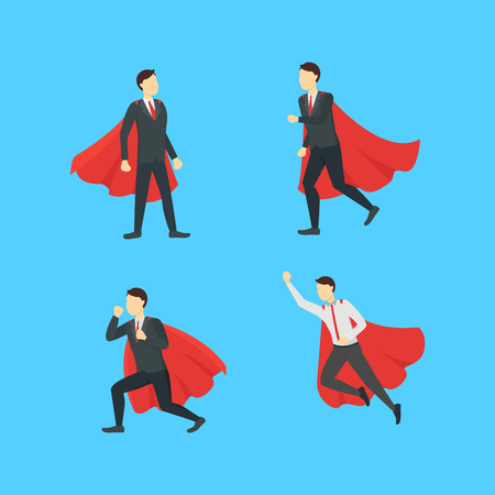 Cartoon Businessman Superhero Characters Icon Set. Illustration