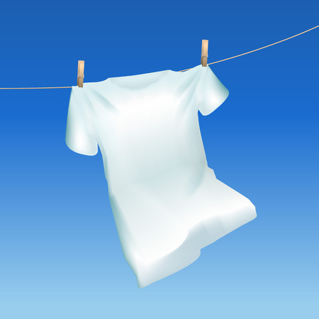 Realistic Detailed 3d Tshirt Hanging Out on a Blue Sky Background Closeup View. Vector illustration of Drying Cloth