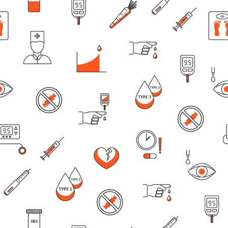 Diabetes Treatment Thin Line Seamless Pattern Background on a White Medicine and Health Care Concept Include of Blood Test. Vector illustration