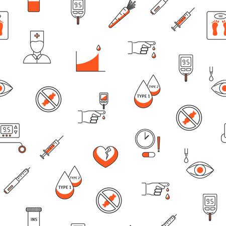 Leczenie cukrzycy cienka linia wzór tła na białym koncepcji medycyny i opieki zdrowotnej to badanie krwi. Ilustracja wektorowa