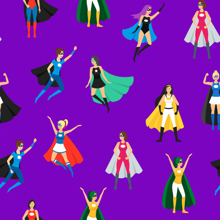 Cartoon Female Superhero Seamless Pattern Background.